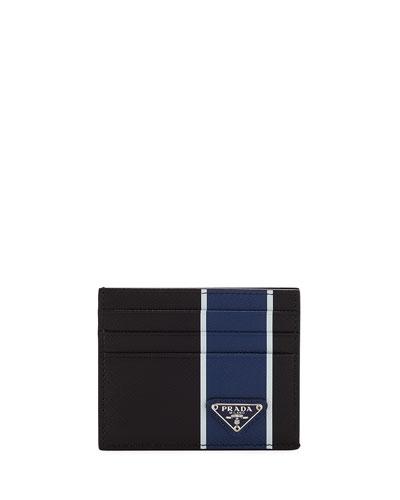 Men's Striped Leather Card Case