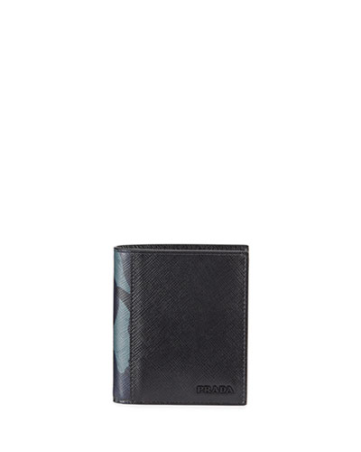 Men's Saffiano Active Leather Wallet with Camouflage