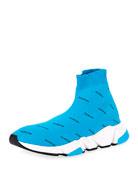Balenciaga Men's All Over Logo Speed Sneakers