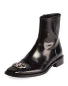 Balenciaga Men's Rim BB-Logo Leather Booties