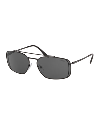 Men's Metal Double-Bridge Rectangle Sunglasses