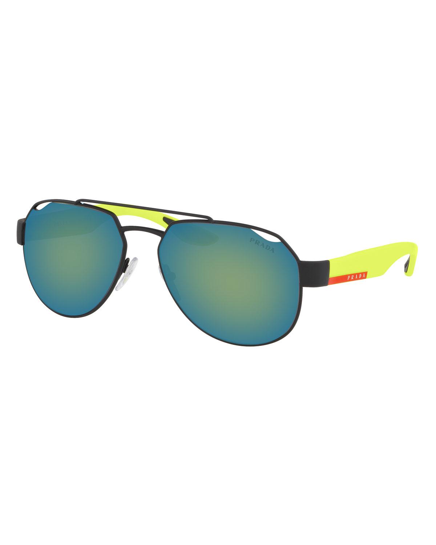 7146e9ab423e Prada Men s Active Metal Aviator Sunglasses In Blue