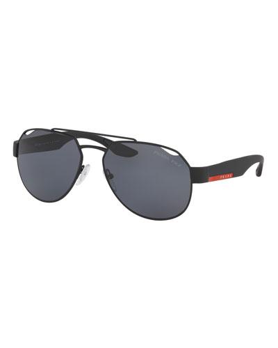 0dac1d435b Quick Look. Prada · Men s Steel Aviator Cutout Sunglasses