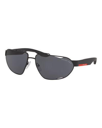 Men's Metal Wrap Cutout Sunglasses