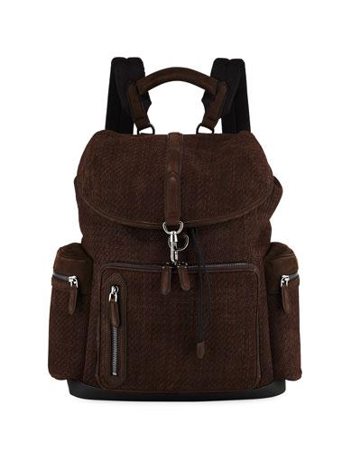 Men's Pelle Tessuta Flap Backpack