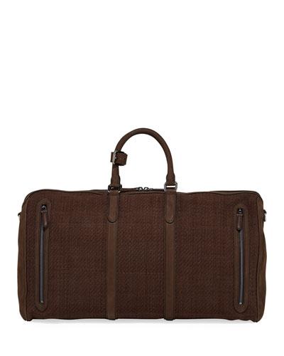Men's Large Pelle Tessuta Leather Duffel Bag