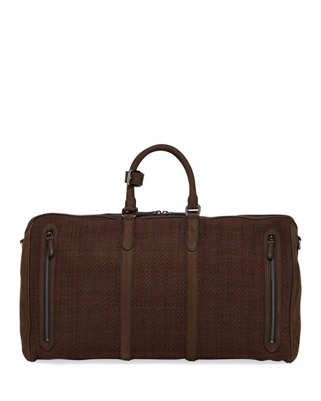Ermenegildo Zegna Men's Large Pelle Tessuta Leather Duffel Bag