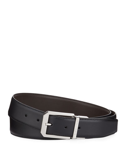 Men's Square-Buckle Leather Belt