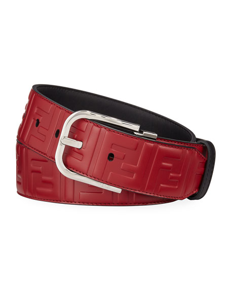 Fendi Men's Logo-Embossed Leather Belt