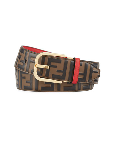 Men's FF Logo Leather Belt