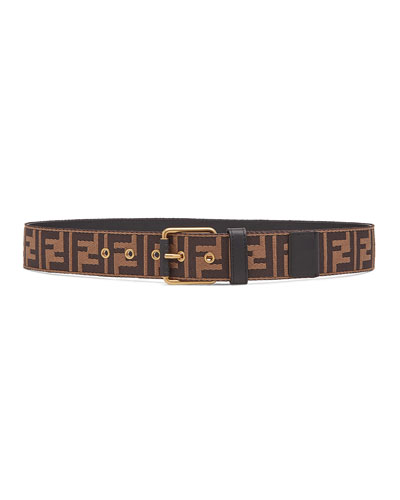 Men's FF Logo Knit Belt w/Leather Trim