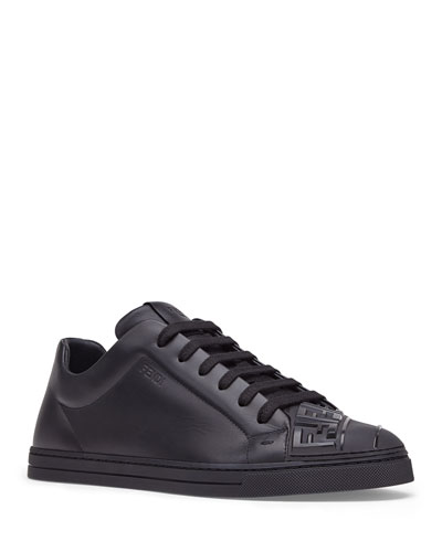 Men's Embossed Logo Tonal Leather Sneakers