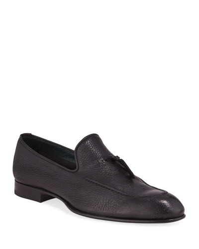 Men's Tie-Front Deerskin Leather Loafer
