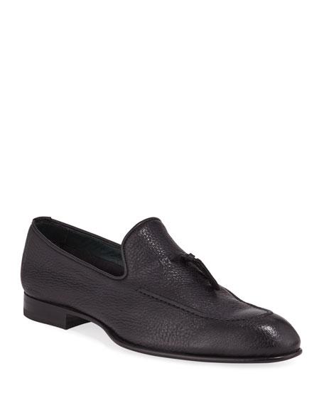 Brioni Men's Tie-Front Deerskin Leather Loafer