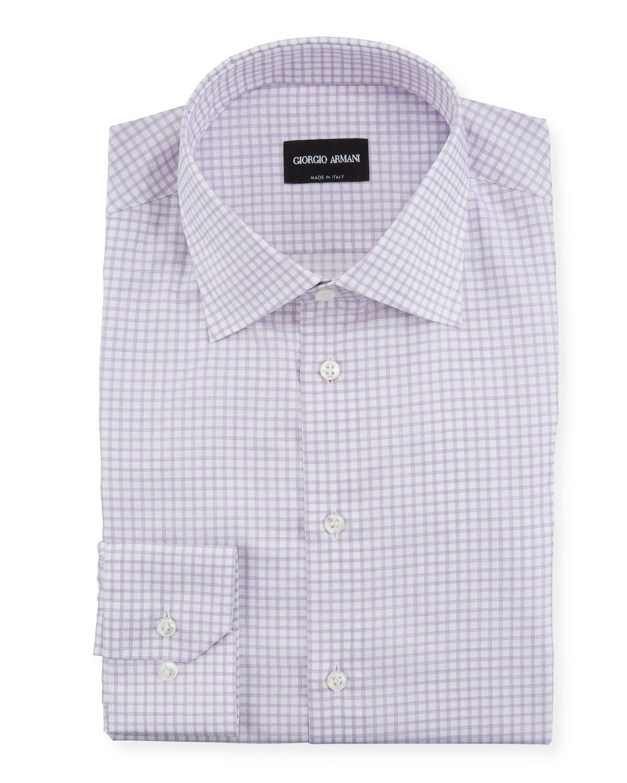 Giorgio Armani Dresses MEN'S GRAPH-CHECK DRESS SHIRT
