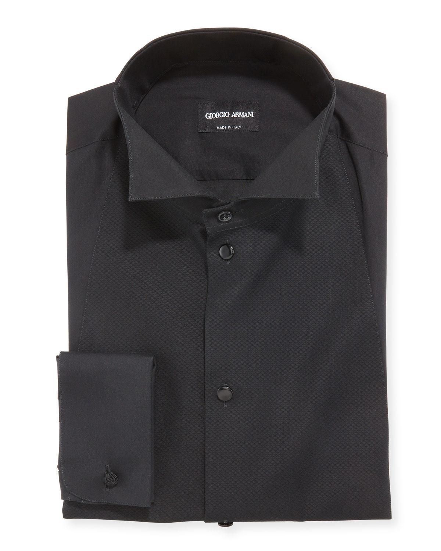 Men's Bib-Front Formal Dress Shirt