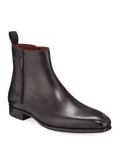 Men's Double-Zip Leather Ankle Boots