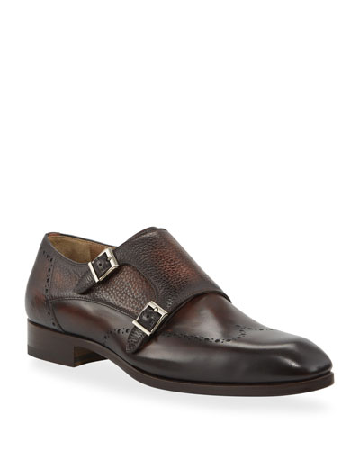Men's Double-Monk Wing-Tip Leather Loafers