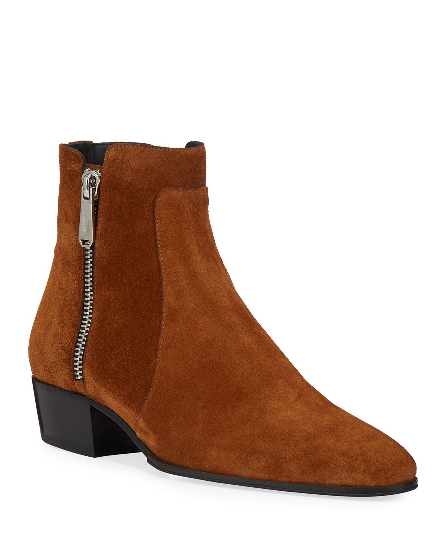 Men's Calf Suede Zip-Up Ankle Boots