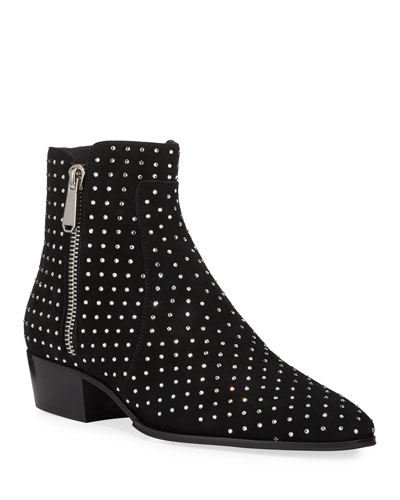 Men's Goat Suede Studded Ankle Boots