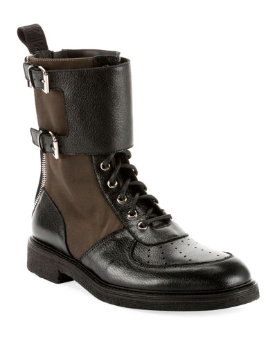 Buffalo Leather & Nylon Combat Boots