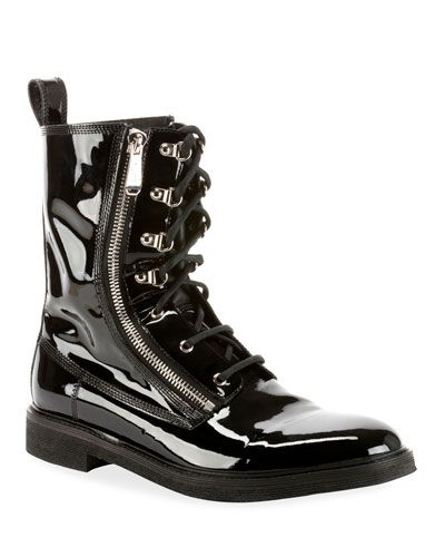 Men's Patent Leather Melvin Combat Boot