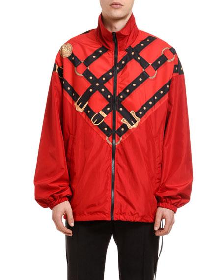 Versace Men's Harness-Graphic Wind-Resistant Jacket