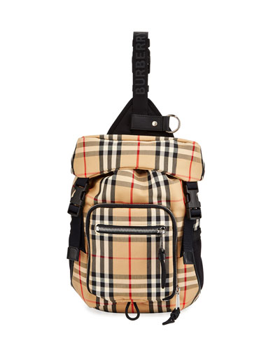 Men's Signature Check Crossbody Backpack