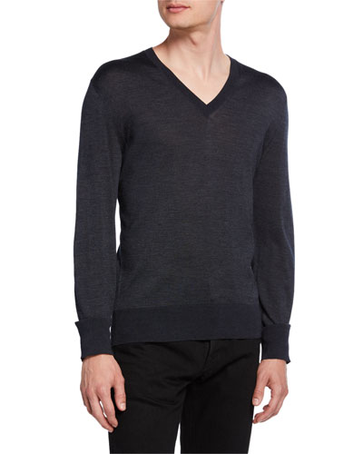 Men's Silk V-Neck Sweater