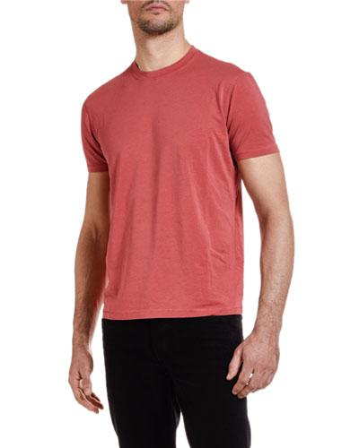 Men's Solid-Knit Crewneck T-Shirt, Red