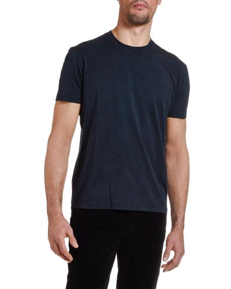 TOM FORD Men's Solid-Knit Crewneck T-Shirt, Blue