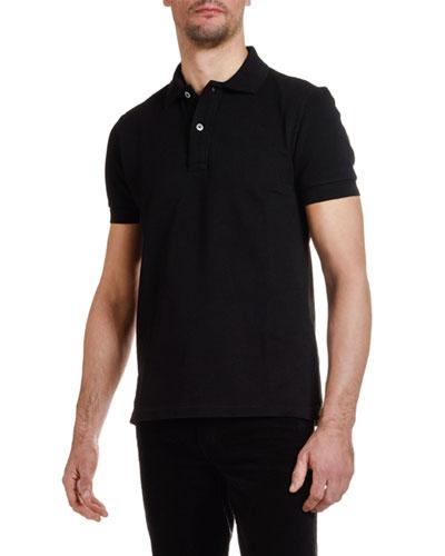 Men's Pique-Knit Polo Shirt, Black
