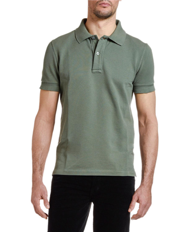 c50271eda92ba Tom Ford Men's Pique-Knit Polo Shirt, Green   ModeSens