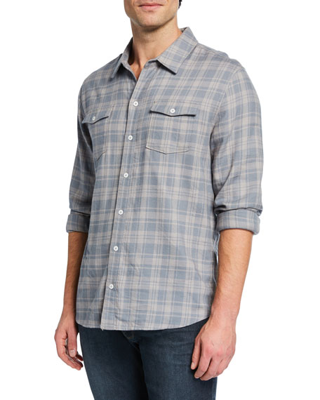 PAIGE Men's Long-Sleeve Contemporary Plaid Sport Shirt