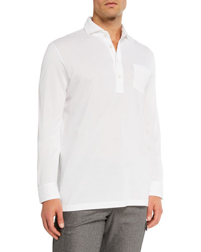 Men's Washed Long-Sleeve Pocket Polo Shirt, White
