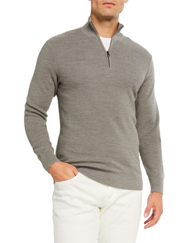 Men's Pique Quarter-Zip Pullover, Light Gray