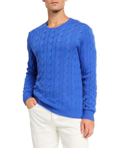 Cashmere Cable-Knit Crewneck Sweater, Blue