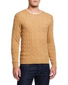 Ralph Lauren Purple Label Men's Cashmere Cable-Knit Crewneck