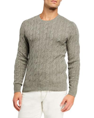 Men's Cashmere Cable-Knit Crewneck Sweater, Light Gray Heather