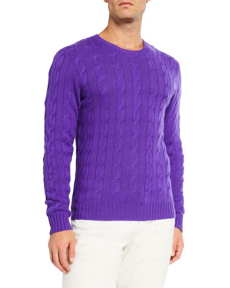 Ralph Lauren Purple Label Men's Cashmere Cable-Knit Crewneck Sweater, Purple