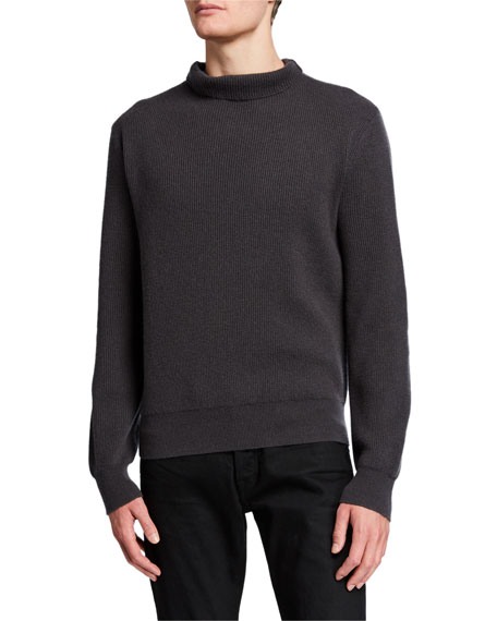 THE ROW Men's Daniel Textured Cashmere Turtleneck Sweater
