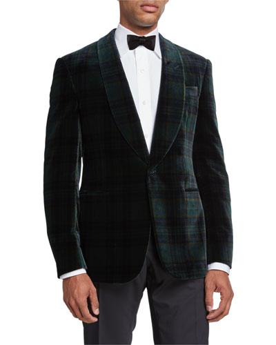 Men's Plaid Velvet Dinner Jacket