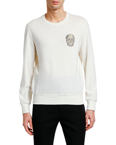 Men's Embellished Skull Crewneck Sweater
