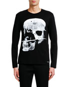 Alexander McQueen Men's X-Ray Skull Graphic Long-Sleeve Cotton