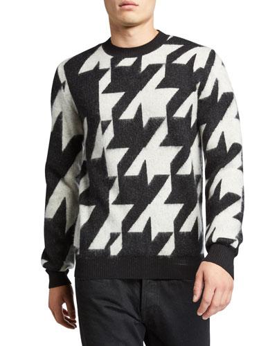 Men's Oversized Houndstooth Crewneck Mohair Sweater