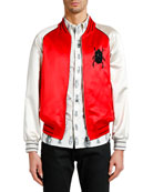 Alexander McQueen Men's Bug-Embroidered Satin Souvenir Jacket