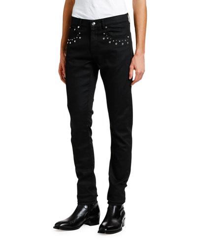 Men's Denim Jeans with Studded Pockets