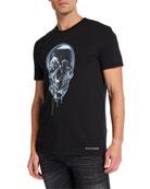 Alexander McQueen Men's Melting Metal Skull Graphic Short-Sleeve