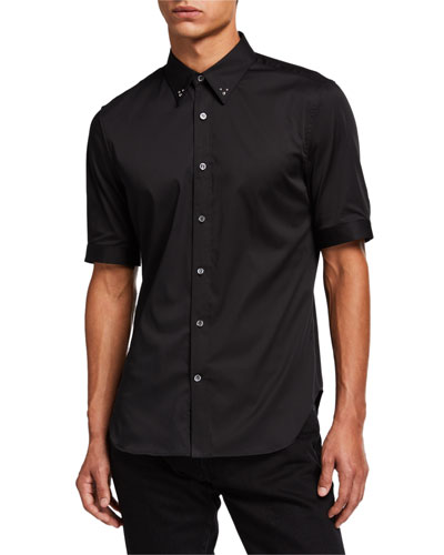 Men's Studded-Edge Short-Sleeve Sport Shirt
