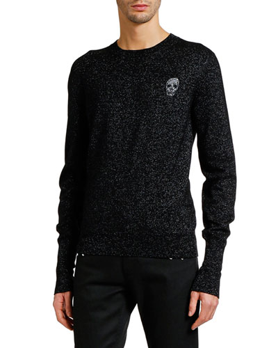 Men's Metallic Crewneck Sweater with Skull Detail